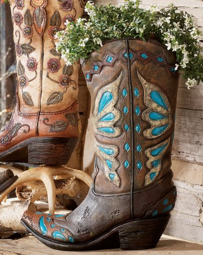 Turquoise Cowboy Boot Vase - Western -
