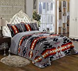 Southwest Design (Navajo Print) Queen Size 3pcs Set 15081 Grey