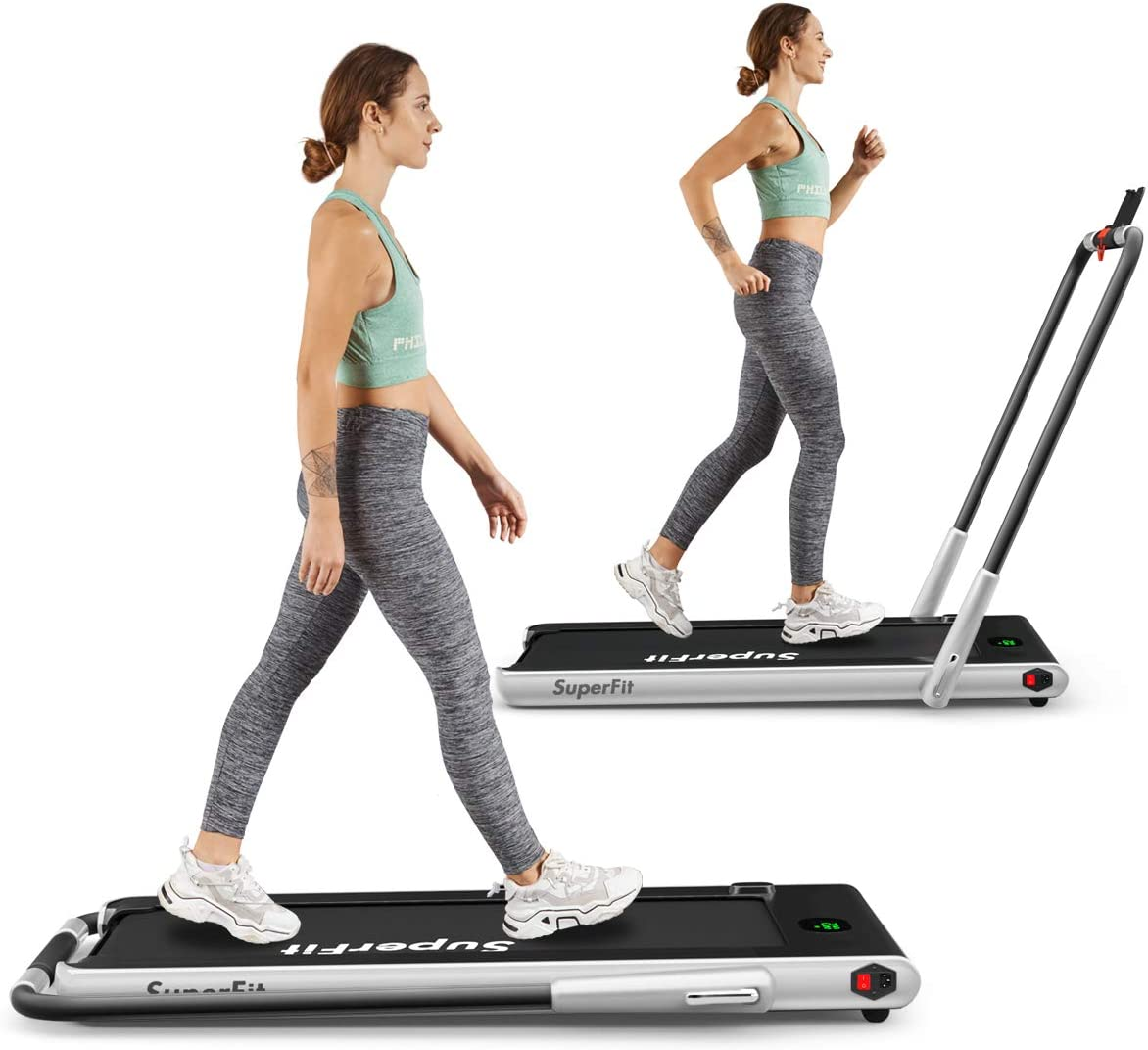 Goplus 2 in 1 Folding Treadmill, 2.25HP Under Desk Electric Treadmill, Installation-Free, with Remote Control, Bluetooth Speaker and LED Display, Walking Jogging Machine for Home Office Use