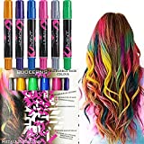 HAIR CHALKS SET: 6 Colorful Hair Chalk Pens Edge Chalkers. For Halloween Christmas party, Temporary Color for Girls for All Ages. Makes a Great Birthday Gifts For Girls, Works on All Hair Colors