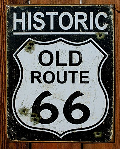 Old Route 66 - Weathered Tin Sign 13 x 16in - Route 66 Sign