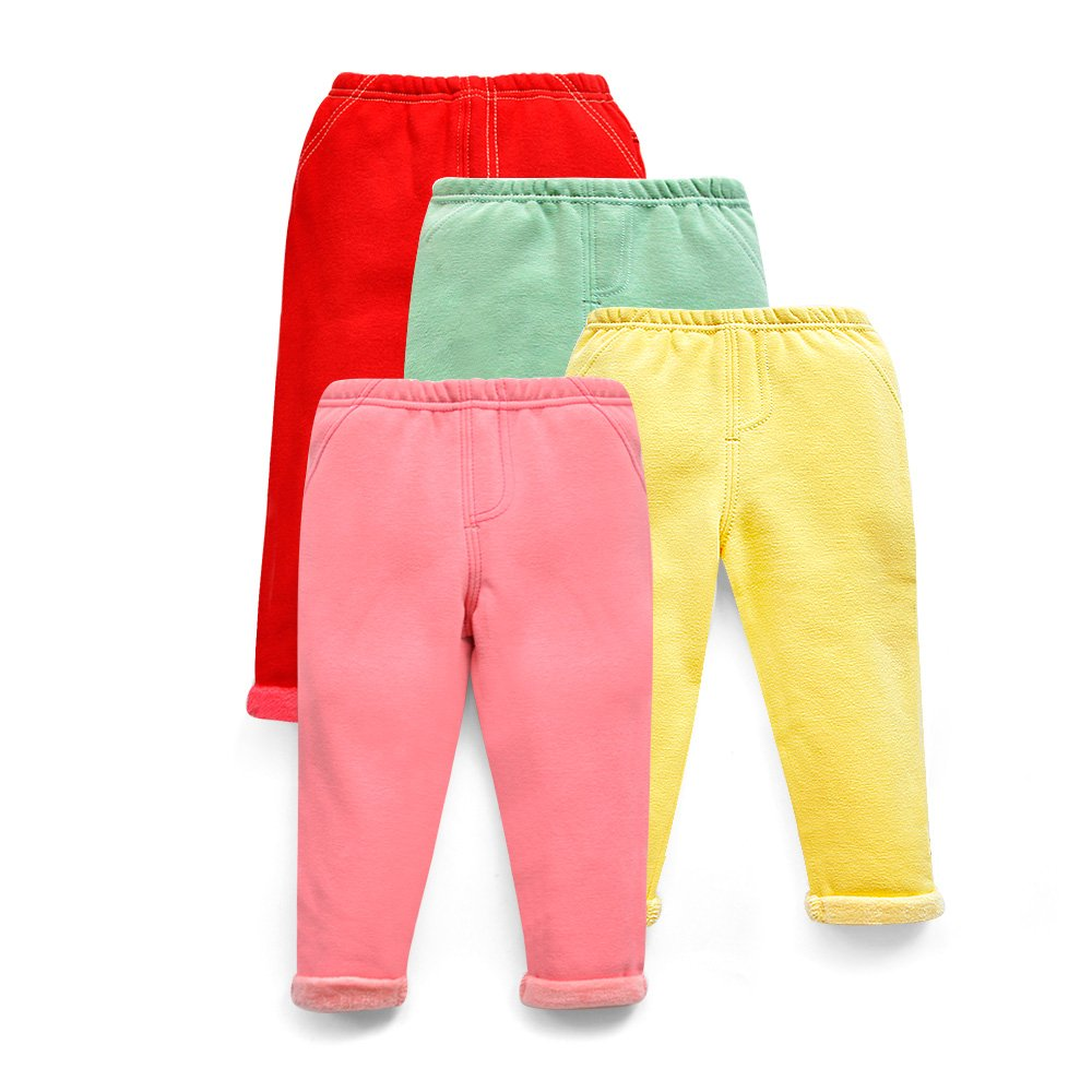 HIMIPOPO Baby Girl Pants Toddler Kids Leggings Cotton Winter Thicken Keep Warm 4pcs/Lot Four Color