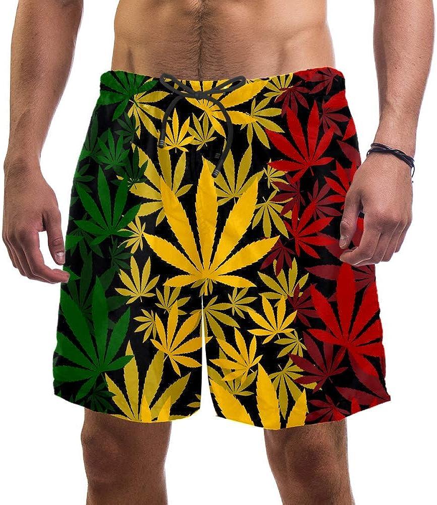 LORVIES - Bañador para hombre, diseño de hojas de marihuana y cannabis, secado rápido, talla L