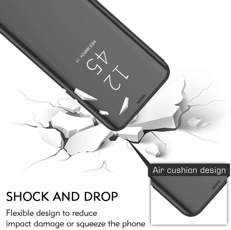Black TVVT Mirror Flip Csae for Motorola Moto G8 Power Lite Case Ultra-Slim Hard PC Leather Cover Makeup Plating Elegant Crystal Case Standing View Bookstyle Shockproof Case Cover