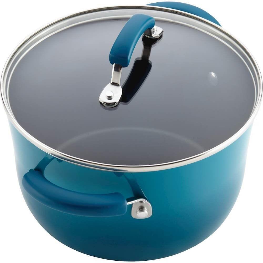 Rachael Ray Classic Brights Hard Enamel Nonstick Cookware 14-Piece Set, Marine Blue