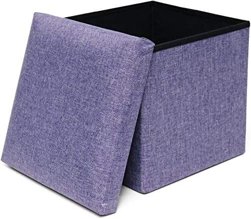 Storage Ottoman Cube Folding Ottomans with Storage Stools and Ottomans Square Foot Rest Seat Foldable Toy Chest Padded with Memory Foam for Space Saving 13x13x13 inch, Purple