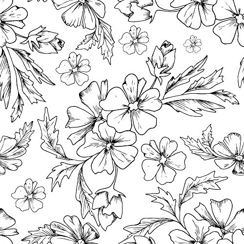 WallsByMe Peel and Stick Black and White Textured Floral Removable Wallpaper 6488-2ft x 4ft (61x122cm) - WallFab - 7mil