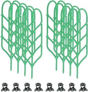Indoor Plant Trellis,8 Pcs Garden Trellis DIY for Potted Plant Support, 8 Pcs Plant Clips,Leaf Shape Mini Climbing Plants Flower Vegetables Rose Vine Pea Ivy Cucumbers Pots Support