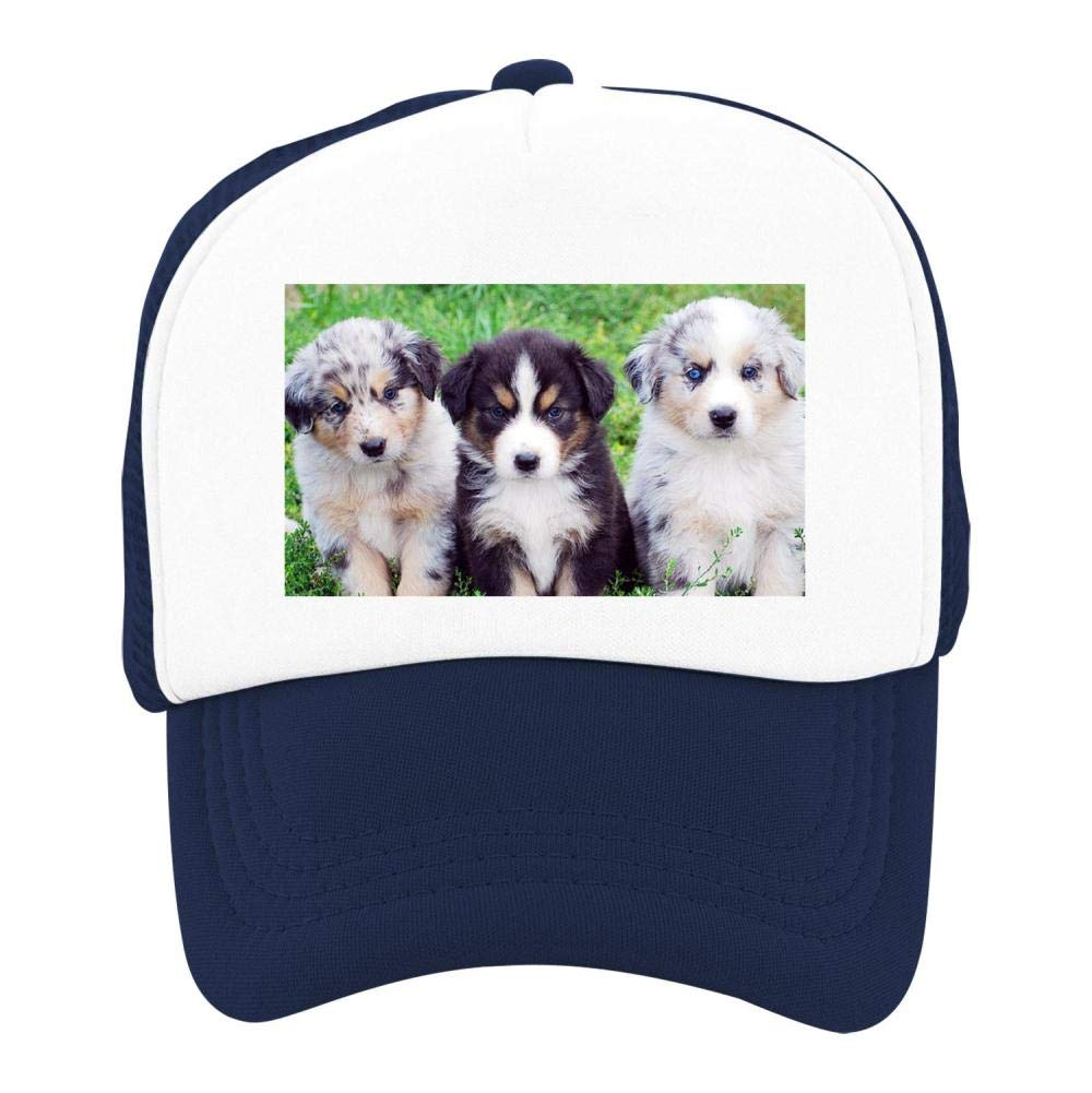 EThomasine Kids Girls Boys Mesh Cap Trucker Hats Australian Shepherd Adjustable Hat Navy