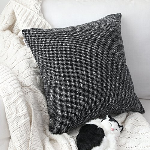 - Kevin Textile Set of 2 Decorative Pillows Covers for Couch Star Faux Linen Sofa Pillows Cover 24 x 24 inch, 61x61cm, Black