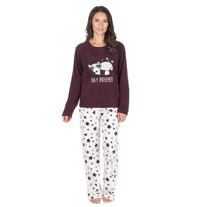 1c3a8e8df Forever Dreaming Womens Novelty Pyjama Set - Fleece Animal PJ Top   Bottoms  Bundle Racoon S