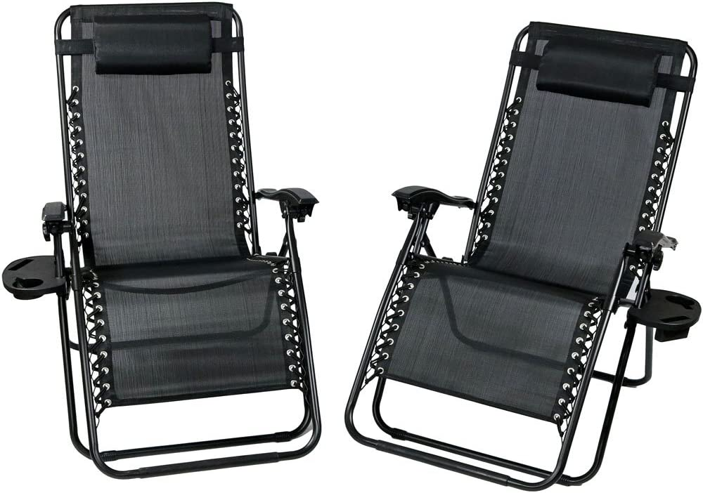 Sunnydaze Outdoor XL Zero Gravity Lounge Chair with Pillow and Cup Holder, Folding Patio Lawn Recliner, Charcoal, Set of 2