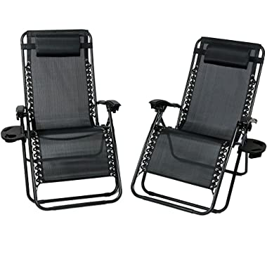 Sunnydaze Outdoor XL Zero Gravity Lounge Chair with Pillow and Cup Holder, Folding Patio Lawn Recliner, Black, Set of 2