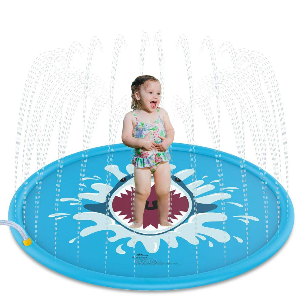 Katedy Sprinkle Splash Play Mat Pad Toy, 68 inch Kiddie Water Pool for Kids Children Infants Toddlers Boys Girls, Inflatable Outdoor Summer Water Toys Sprinkler pad by Katedy