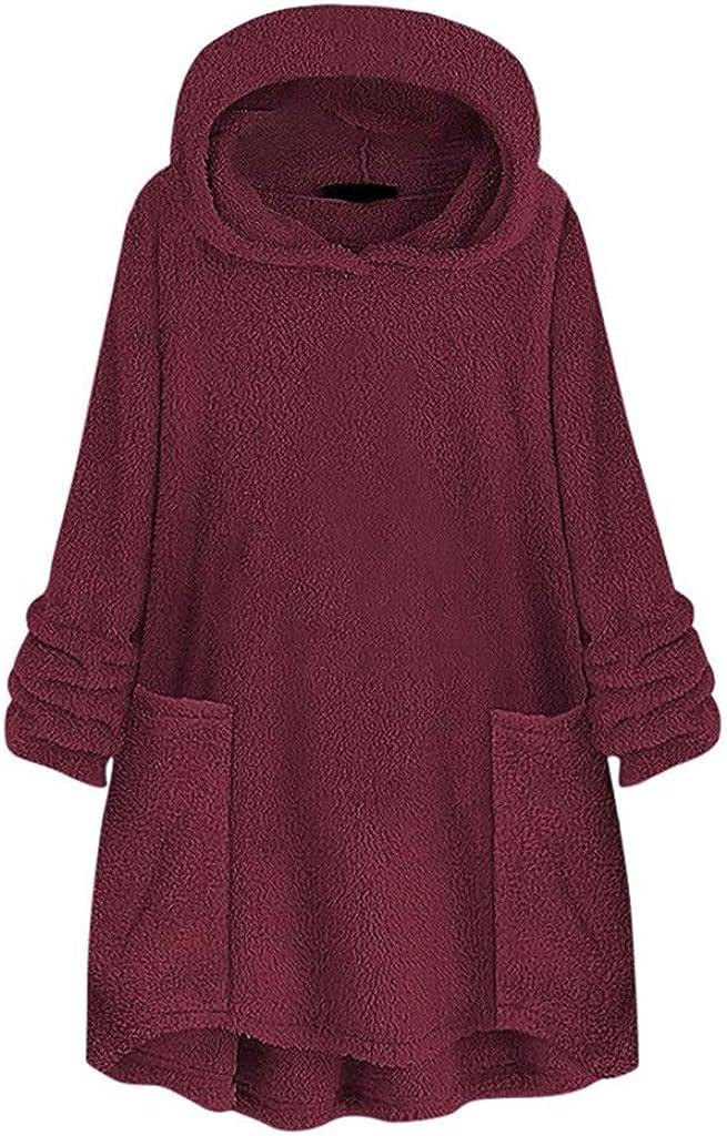 WUAI-Women Winter Wool Warm Hoodie Jackets Casual Oversized Fuzzy Fleece Pullover Sweatshirt Tops Pockets
