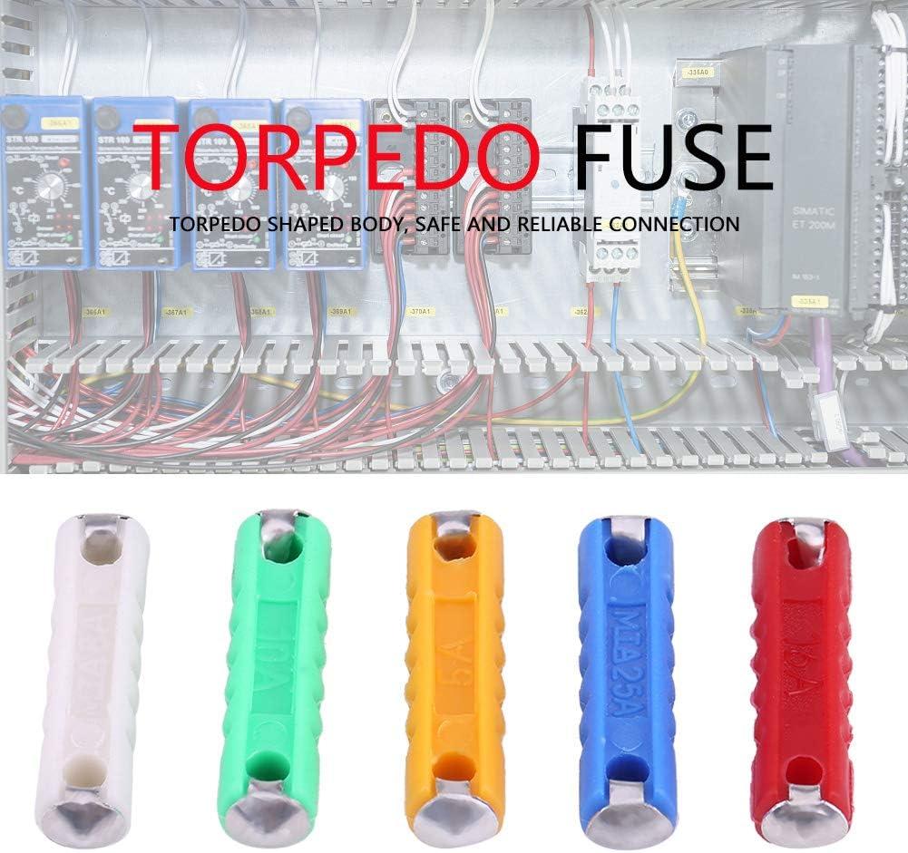 oenbopo Car Blade Fuses Assortment Kit Multicolor Torpedo Shaped Car Fuses Assortment Kit for European Old Style Cars 200Pcs