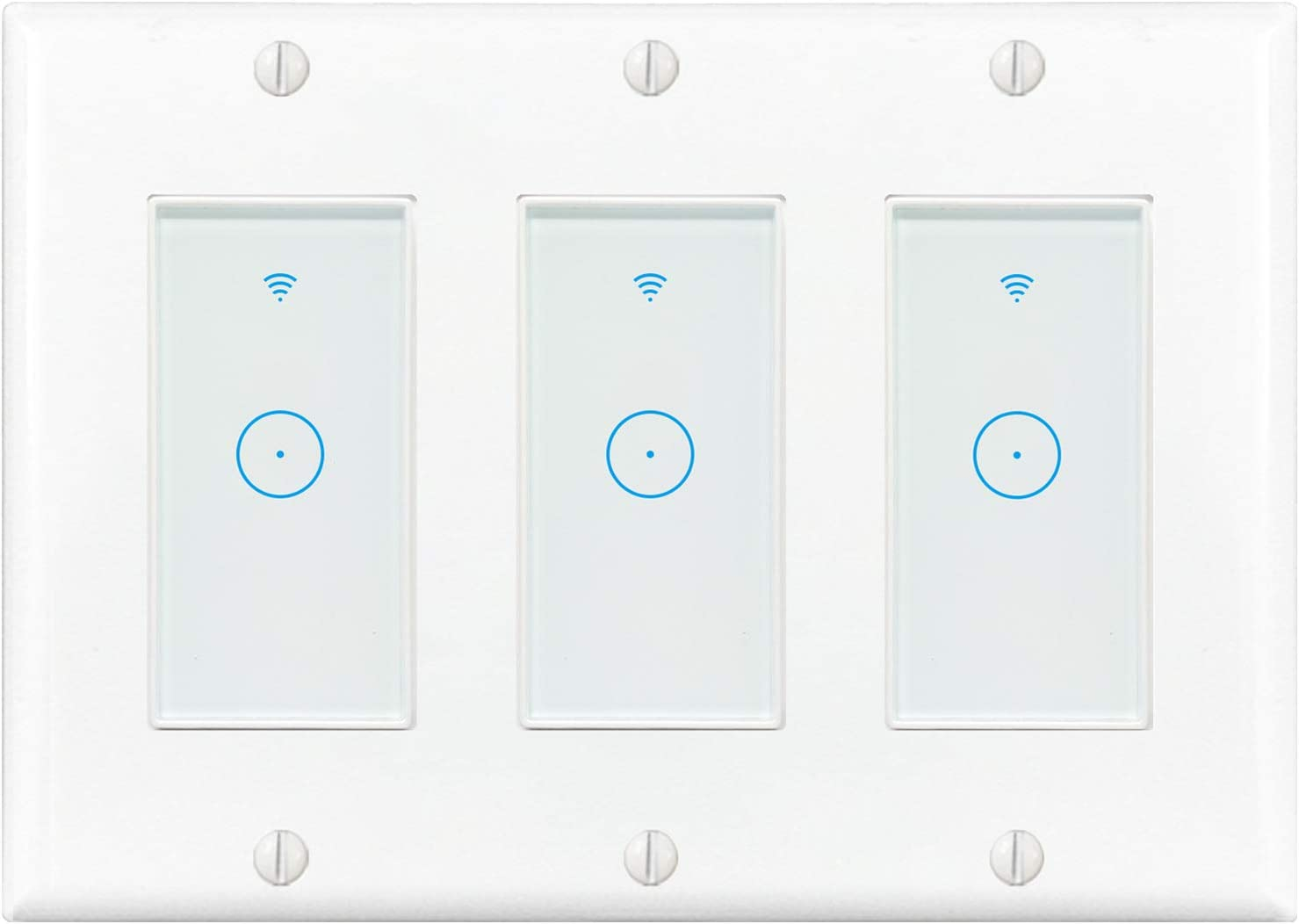 Smart Switch, 2.4Ghz WiFi Switch Work with Alexa, Google Home and IFTTT,Need Neutral Wire,No Hub Required,Smart Light Switch 3 Gang