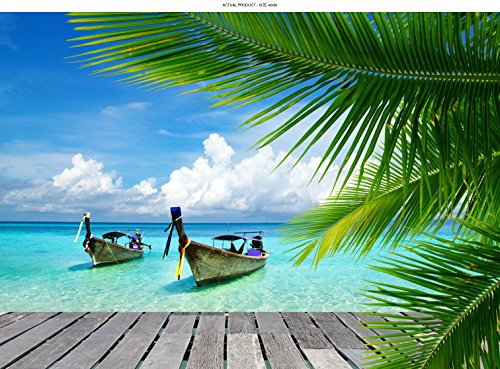Paradise Etched Glass (WindowPix 42x30 Inch Decorative Static Cling Window Film Kayaks and Island Paradise . Printed on Clear for Window Glass panels. UV protection, Energy Saving.)