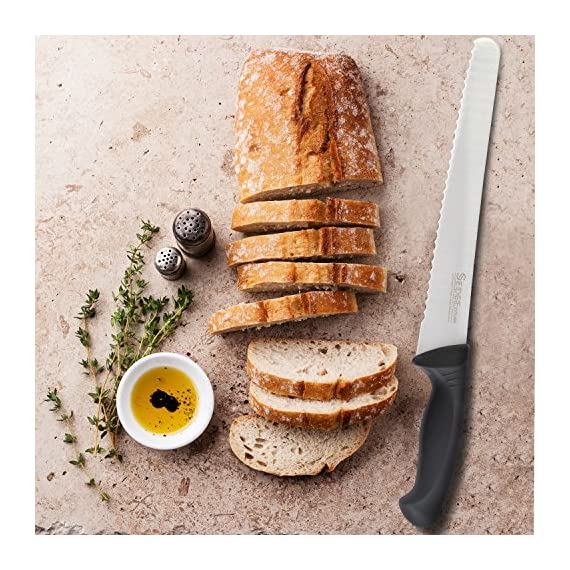 SEDGE Cutlery Bread Knife 10 inch - Serrated Long Blade Sharp edge - Ergonomic Pakkawood Handle - German HC stainless steel - SP series 5 What can it do for you? SEDGE Professional Series Bread knife is a cost-effective knife that suitable for cutting bread into pieces easily. What is it made of? SEDGE SP Series Chef knife is manufactured from high carbon german stainless steel that maintains its functionality for a long time. How can we improve it? SEDGE SP Series Chef knife was throughed vacuum heat treatment and nitrogen cooling technique, the blade was engineered to perfection at 58 Rockwell hardness, so that you can precise cuts with effortless ease. A rust-proof, wear-resistant.