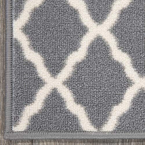 "Ottomanson Glamour Collection Trellis Design Stair Tread, 8.5"" X 26"" Pack of 14, Gray, 14"