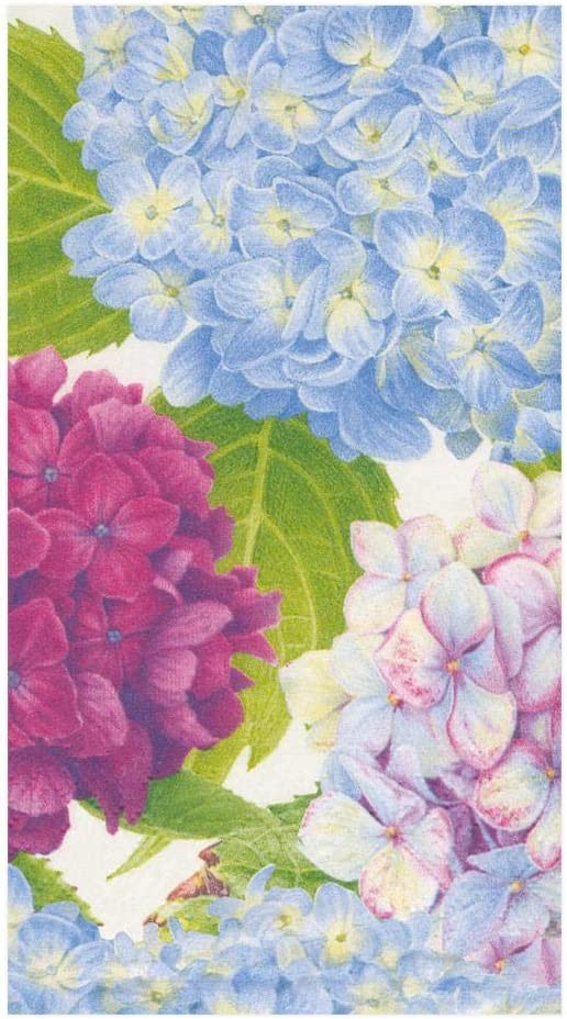 Caspari Hydrangea Garden Paper Guest Towel Napkins in Blue - Two Packs of 15