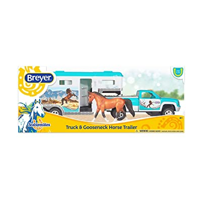 """Breyer Stablemates Truck & Gooseneck Trailer Horse Toy   14"""" x 4.5"""" x 6""""   1:32 Scale   Model #6046: Toys & Games"""