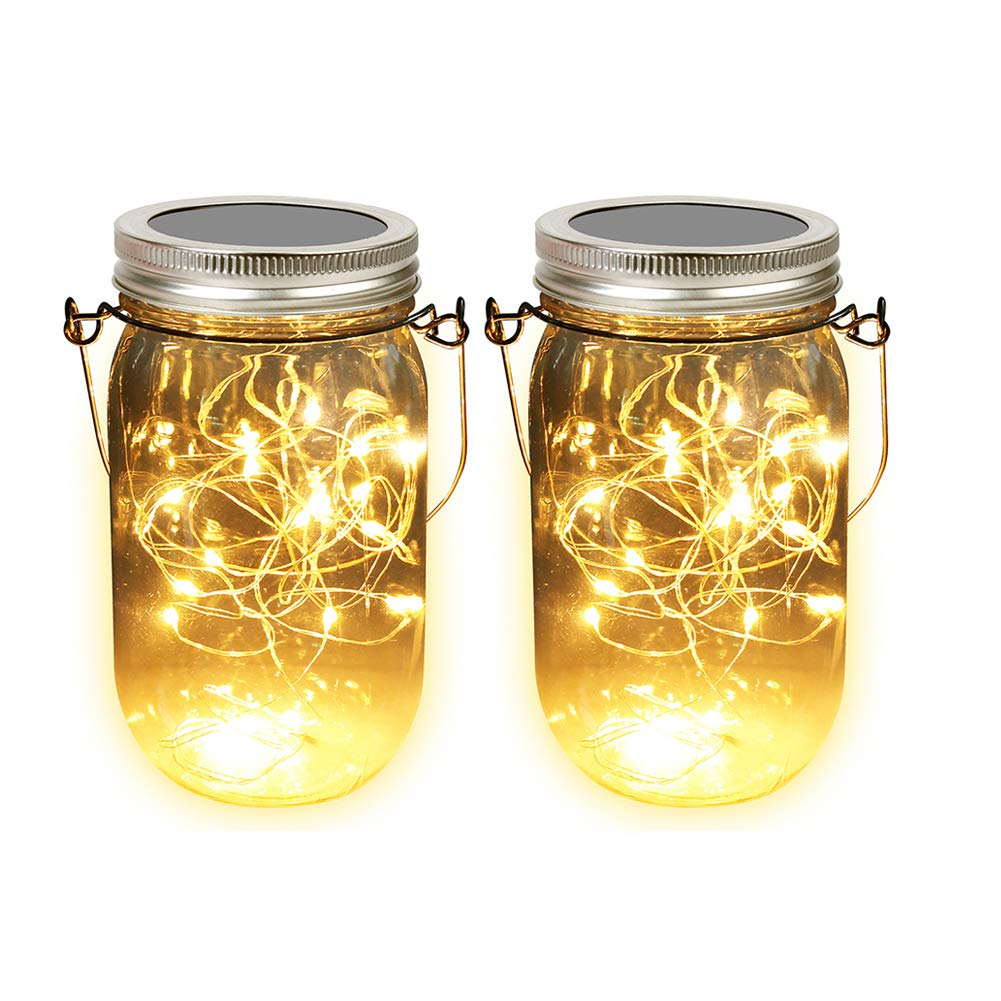 Solar Mason Jar Lights, Adecorty Outdoor Hanging Lights 2 Pack 20 LED String Fairy Star Firefly Jar Lights (Jars & Hangers Included) Warm White Waterproof Solar Lanterns for Garden Patio Outdoor Decor