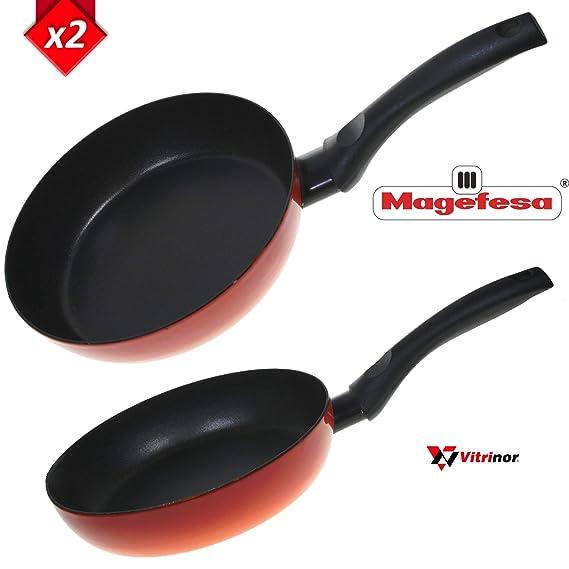 Magefesa Pack DE 2 Sartenes Mod.Fuego Cocina Mediterranea Validas para Todos los Fuegos: Amazon.es: Hogar