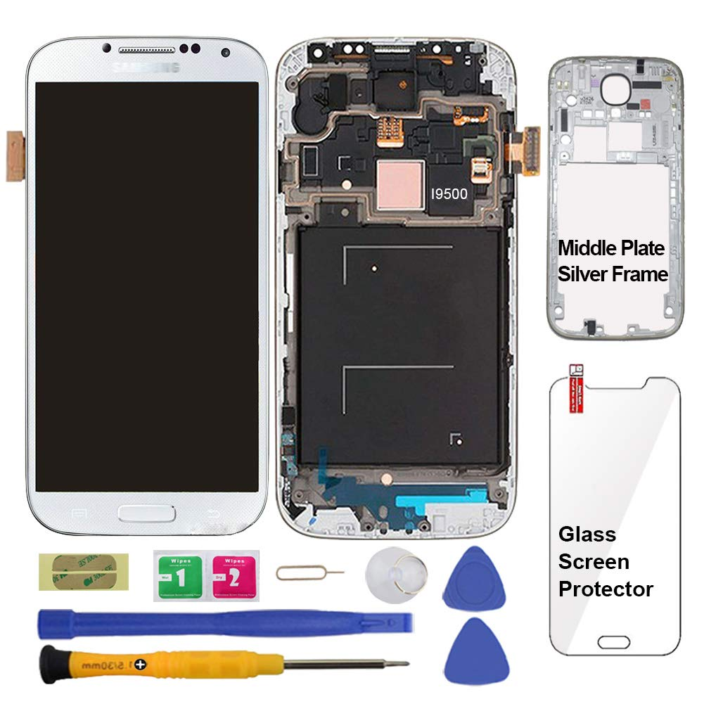 Display Touch Screen (AMOLED) Digitizer Assembly with Frame for Samsung Galaxy S4 (SIV) GT- I9500 (International) (for Mobile Phone Repair Part Replacement)(Repair Tool Kits) (White Frost) by AiYiA