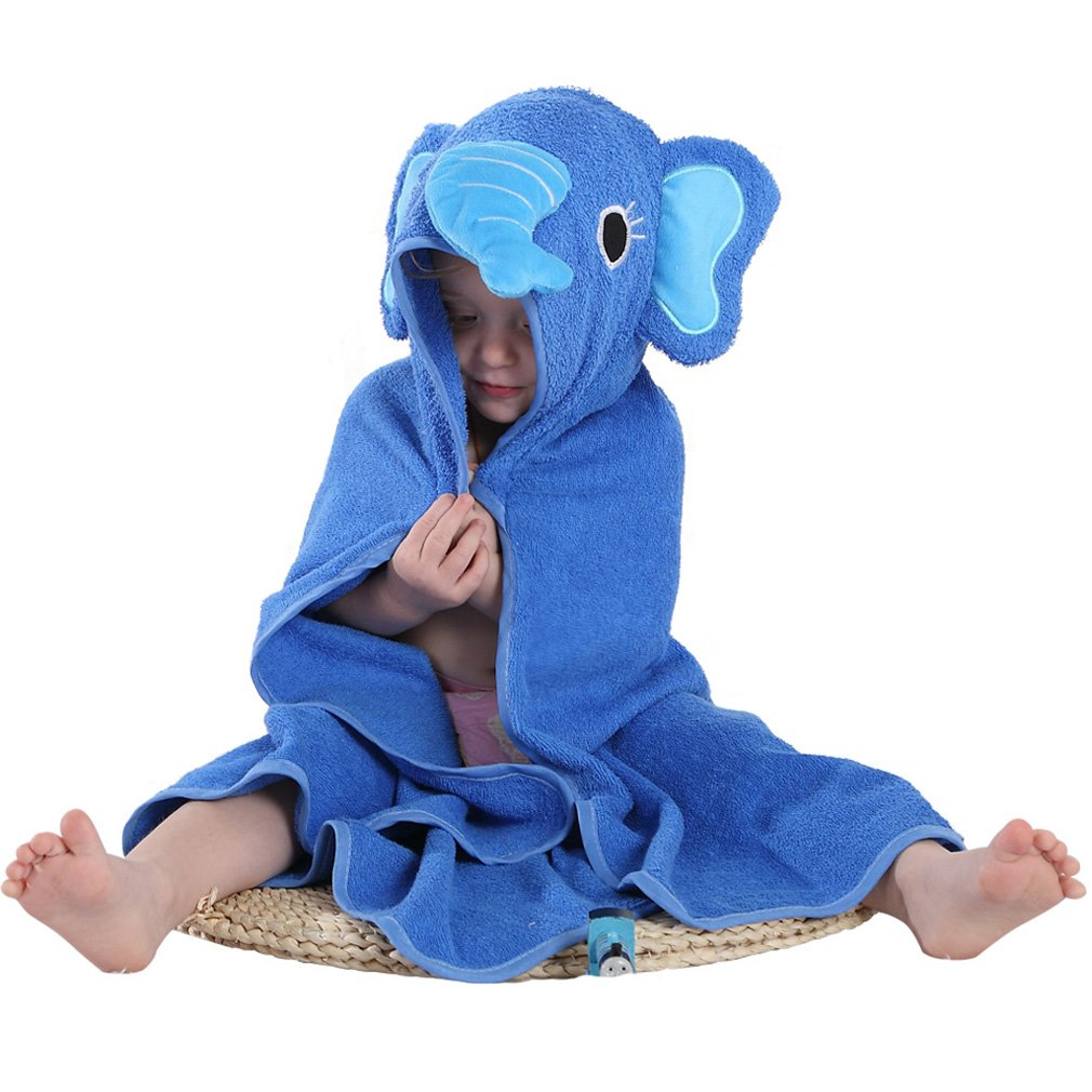 MICHLEY Animal Face Hooded Baby Towel Cotton Bathrobe for Boys Girls 0-6 Year Blue by MICHLEY