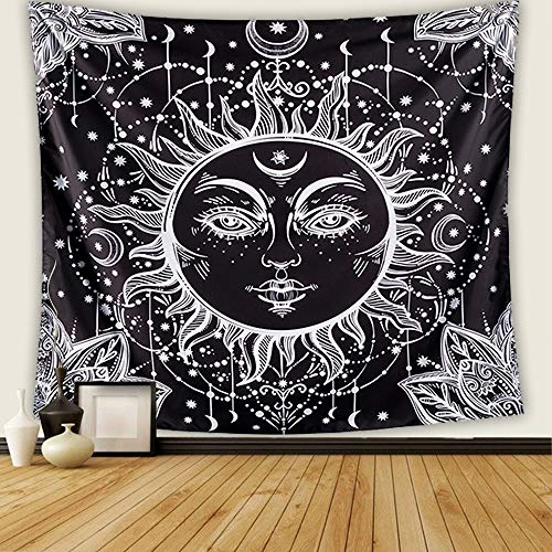 Letsroam 2 Sun and Moon Psychedelic Black and White Celestial Indian Bohemian Hippy Mandala Tapestry Dorm Decor Wall Hangings for Bedroom Living Room, 51.2x59.1, Face