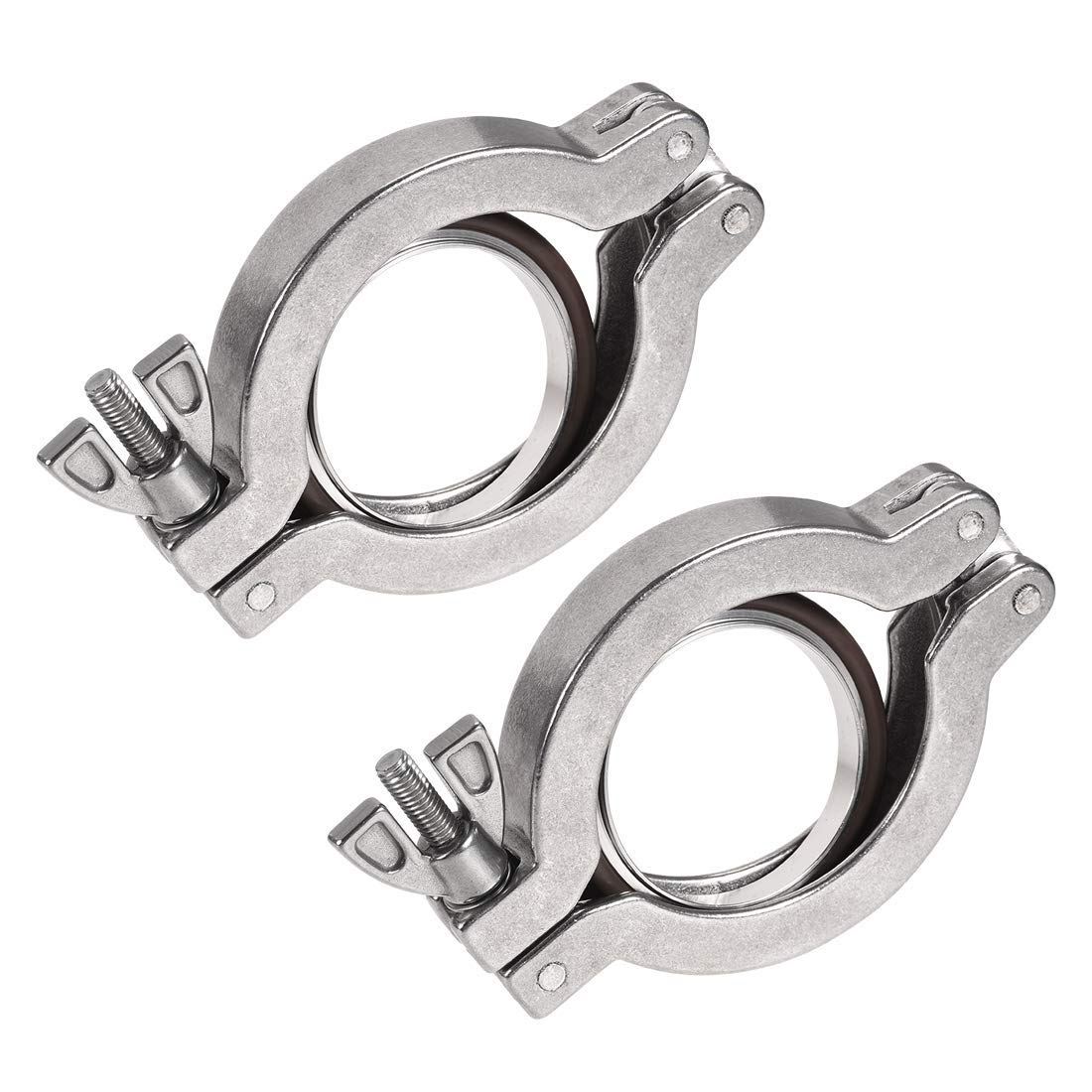 Sanitary Tri-Clamp 68mm X 47mm KF40 Single Pin Tri Clamp Wing Nut with Central Ring for TC Splint 2 Pieces