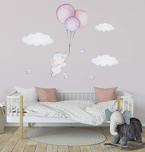 Elefant Ballon Wanddeko Vogel Wandtattoo Himmel Wandsticker