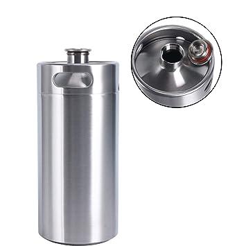 HUKOER Mini Barril Metálico de Acero Inoxidable para Cerveza casera, Vino, Soda, Bebidas (4L)