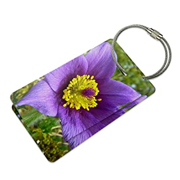 pasque flower south dakota state flower suitcase bag id luggage tag set