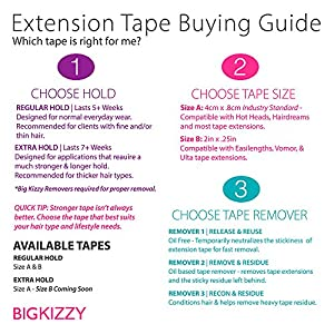 Hair Extensions Tape Regular Hold Compatible with Hot Heads, Hairdreams, Babe & Most Other Brands, 4cm x .8cm Hair Extension Tape, Professional Double Sided Extension Tape