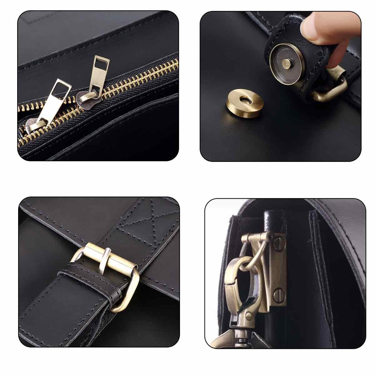 JAKAGO 14.6 Inch Vintage PU Leather Briefcase Laptop Shoulder Messenger Bag Tote School Distressed Bag for Women and Men by JAKAGO (Image #6)