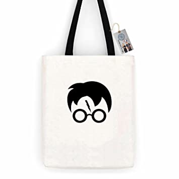 ad1353a25 Amazon.com | Harry Potter Movie Popular Symbols Head Cotton Canvas Tote Bag  Carry All Day Bag | Travel Totes
