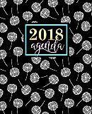 Agenda: 2018 Agenda settimanale italiano : 19x23cm : Fantasia con soffioni nero, bianco e verde acqua: Volume 15