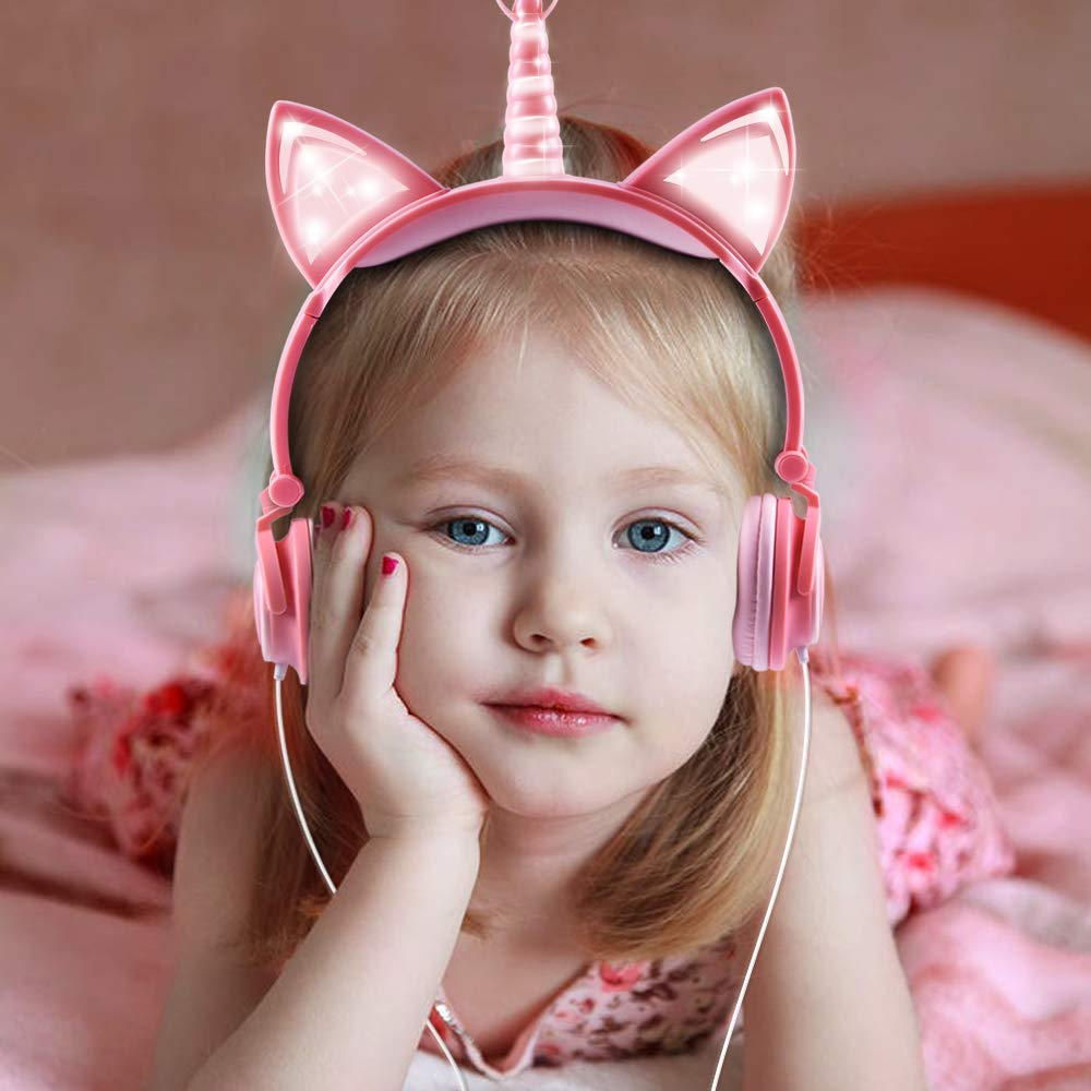 esonstyle Unicorn Kids Headphones, Over Ear with LED Glowing Cat Ears,Safe Wired Kids Headsets 85dB Volume Limited, Food Grade Silicone, 3.5mm Aux Jack.Cat-Inspired Headphones for Girls (Peach) by esonstyle (Image #6)