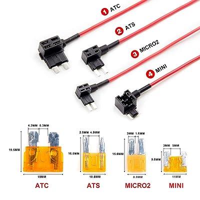 VIOFO 4PCS Circuit Fuse Tap ATC ATS MICRO2 Mini Adapter Holder: Car Electronics