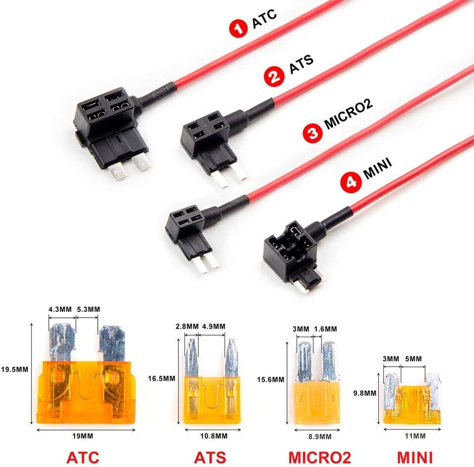 Amazon.com: VIOFO 4PCS Circuit Fuse Tap ATC ATS MICRO2 Mini Adapter Holder:  Car ElectronicsAmazon.com