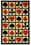 Hand Hooked Poker Cards Patterned Area Rug, Diamond Clover Heart Spade Themed, Runner Indoor Hallway Doorway Living Area Bedroom Cabin Carpet, Bold Geometric Modern Design, Red, Black, Size 2'6 x 8'