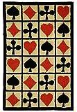 Hand Hooked Poker Cards Patterned Area Rug, Diamond Clover Heart Spade Themed, Runner Indoor Hallway Doorway Living Area Bedroom Cabin Carpet, Bold Geometric Modern Design, Red, Black, Size 2'6 x 8'