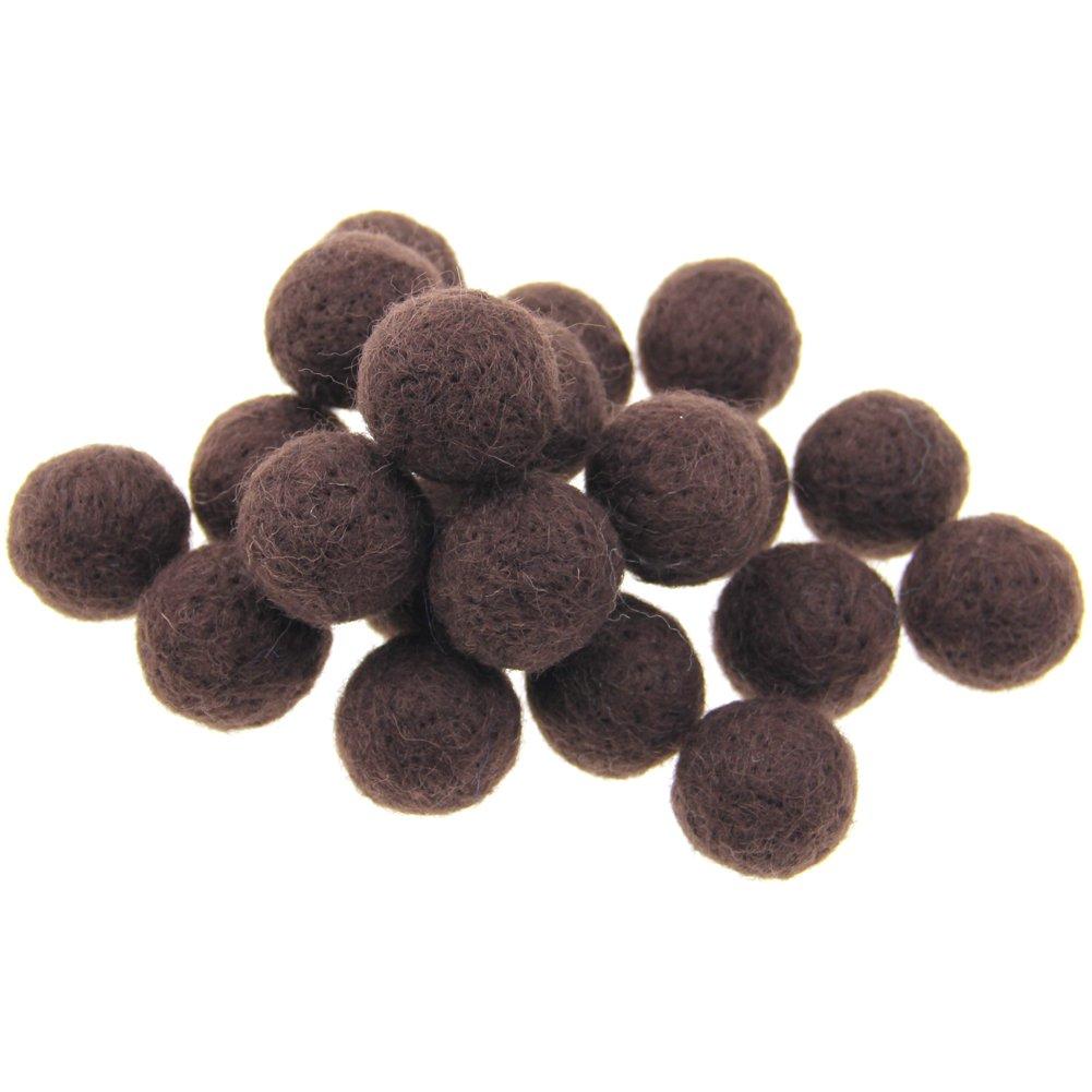 Zasy 30mm Needle Wool Felt Balls Foam Filled Wool Felt Pom Pom Home Decor DIY (Khaki) Zasy Needle Wool Felt