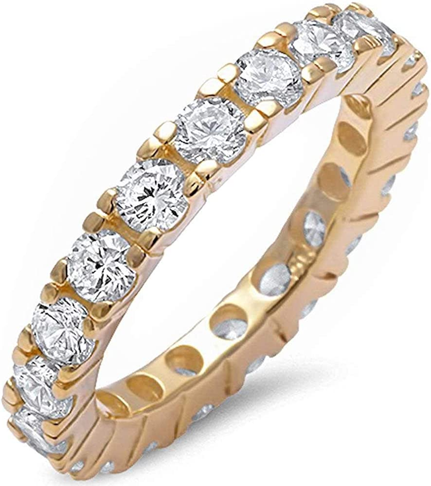 Princess Kylie Round Clear Cubic Zirconia Eternity Band Ring Sterling Silver