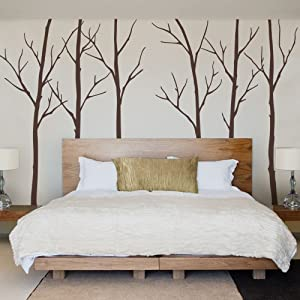 """Simple Shapes Winter Tree Wall Decals - Chestnut Brown - 96"""" (243 cm) Tall Trees"""