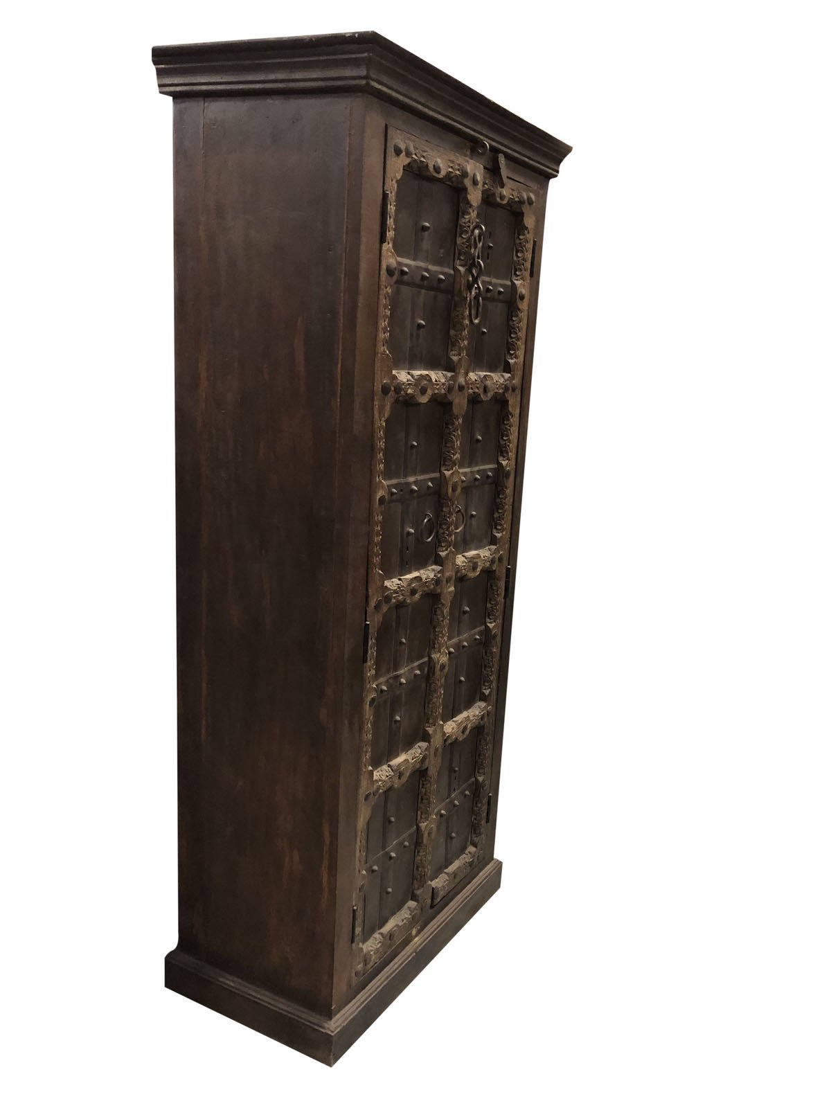 Mogul Interior Antique Indian Armoire Hand Carved Iron Nailed Brown Storage Wardrobe Cabinet Conscious Interiors Design by Mogul Interior (Image #3)