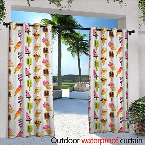 - Ice Cream Patio Curtains Artistic Watercolor Pattern with Different Products Choc Ice Freshness Enjoyment Outdoor Curtain for Patio,Outdoor Patio Curtains W72 x L84 Multicolor