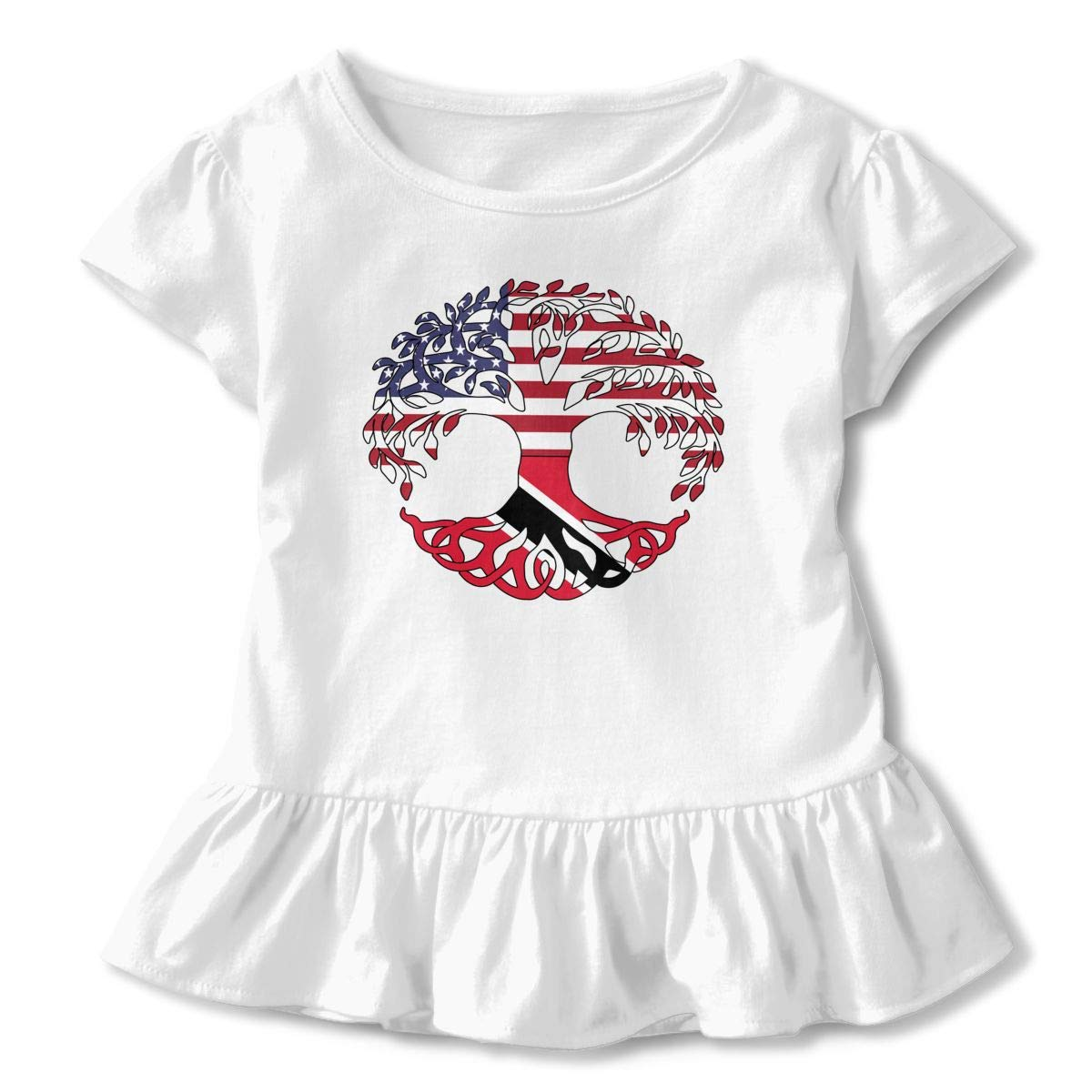 Toddler Baby Girl The American Trinidad Flag Tree of Life Funny Short Sleeve Cotton T Shirts Basic Tops Tee Clothes